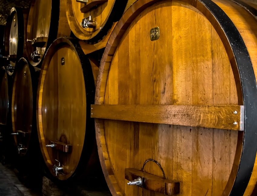barrels with tuscan wine